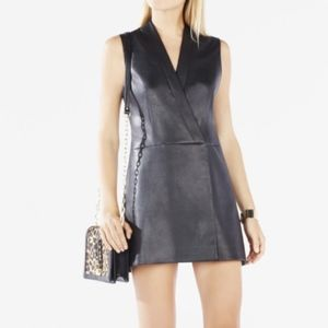 BCBG faux leather wrap Vest Dress Small